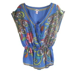 Flying Tomato | Floral & Feather Peplum Blouse